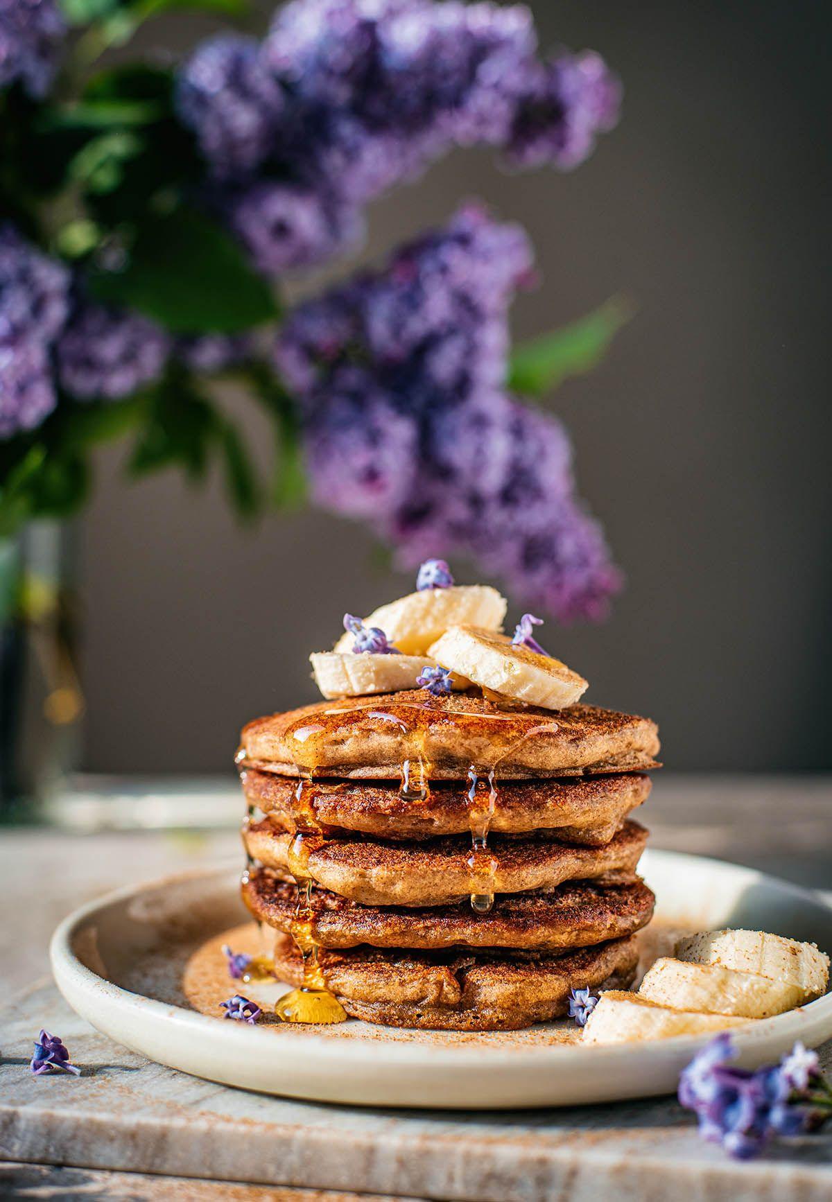 Fluffy gluten free banana pancakes with buckwheat flour