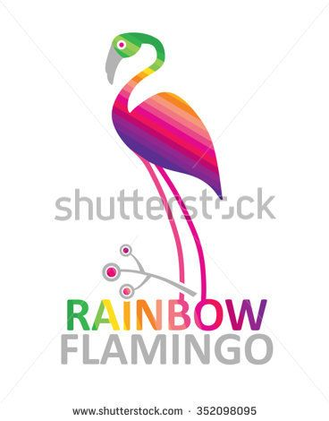 Rainbow flamingo - vector illustration Bright template for design - rainbow template
