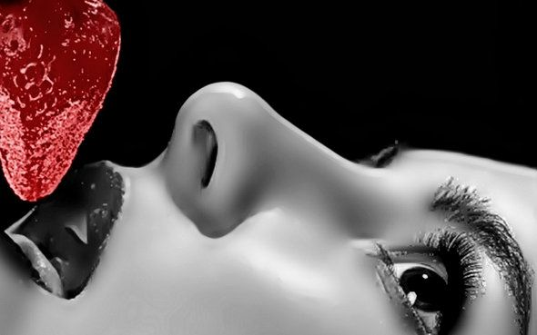 Strawberry over Lips – Wallpaper Dreams #lipswallpaper