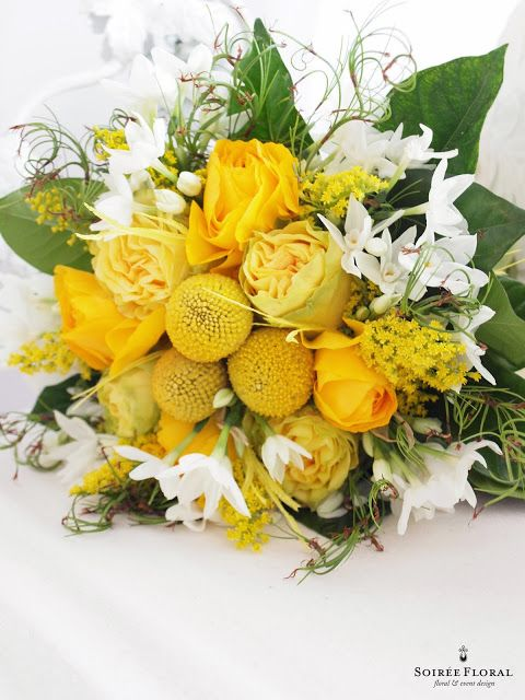 Soiree Floral: Flower Friday - Trailing Bouquets #yellow #gren #white #bouquet #bridalbouquet