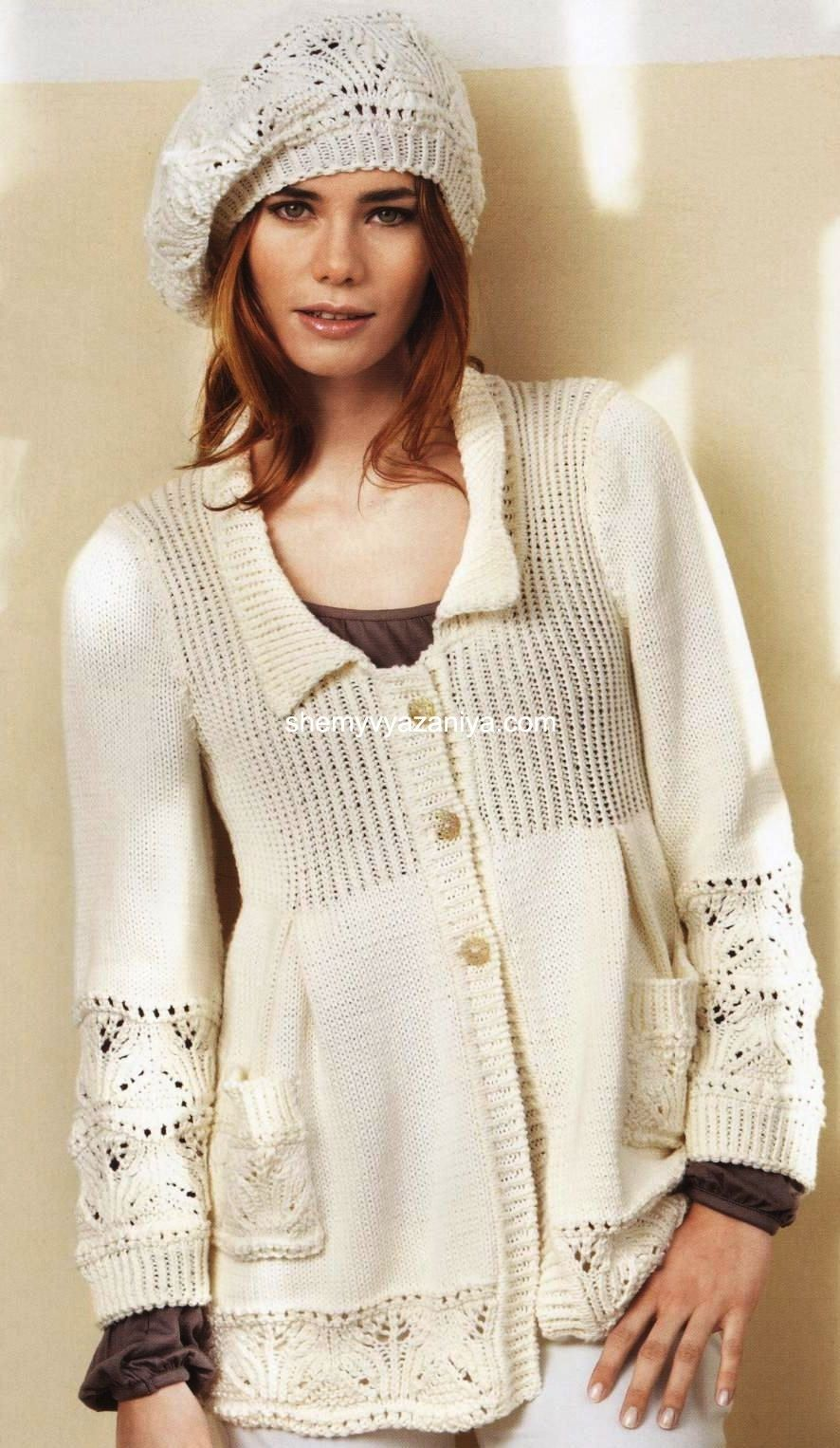 Жакет и шапочка с ажурным узором | Пальто | Pinterest | Blusas ...