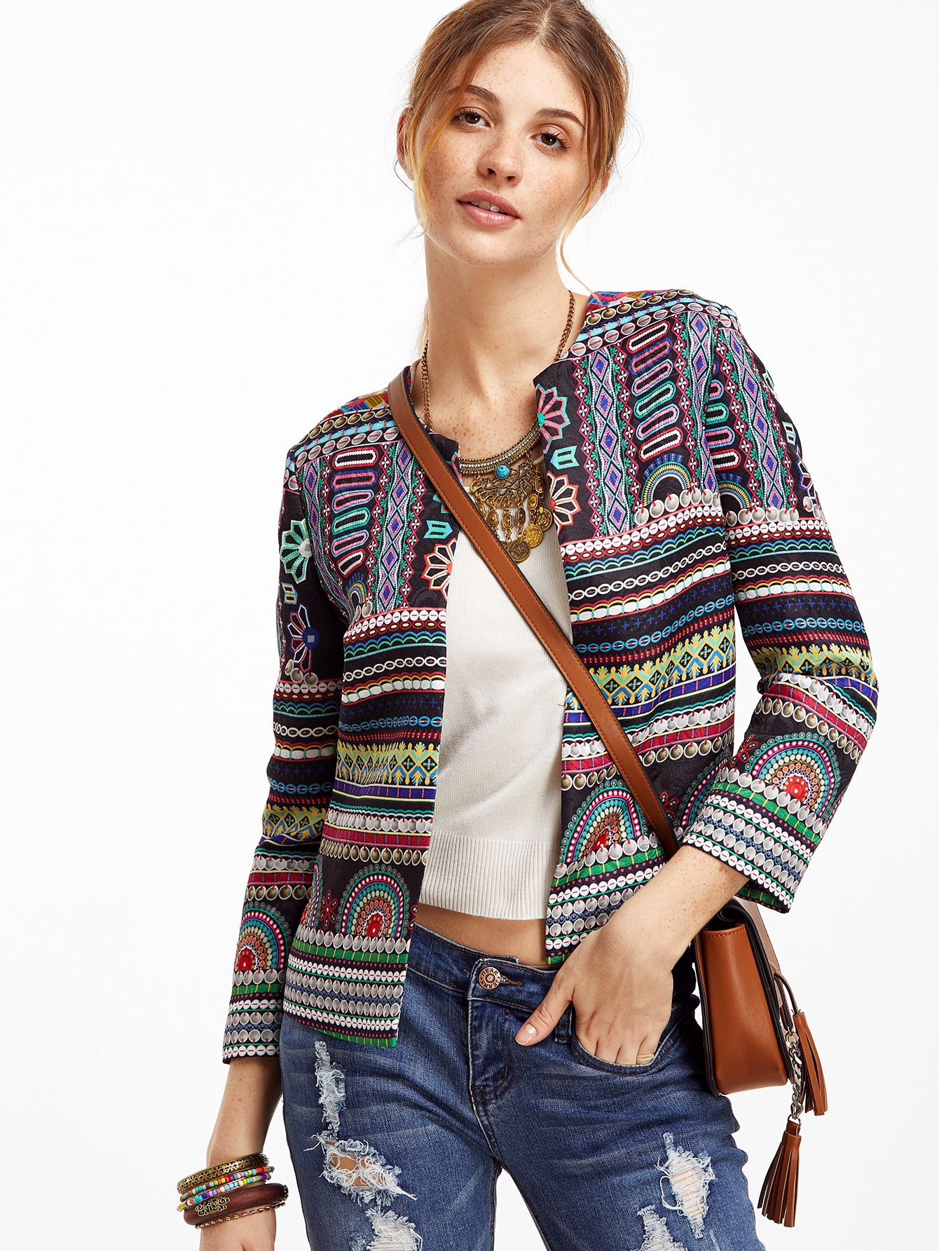 Shop Multicolor Tribal Print Collarless Blazer online. SheIn offers Multicolor Tribal Print Collarless Blazer & more to fit your fashionable needs.