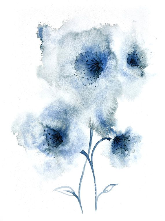 Beautiful Navy Blue Abstract Flower Watercolour Painting Wall Art