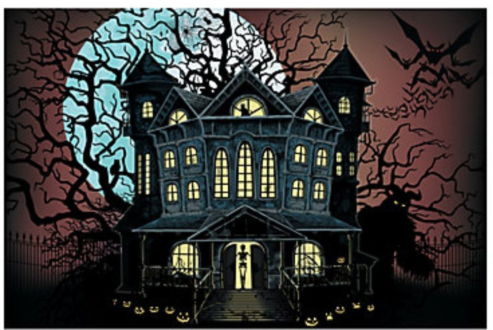 foot haunted house halloween wall mural scene setter photo backdrop - best decorated houses for halloween