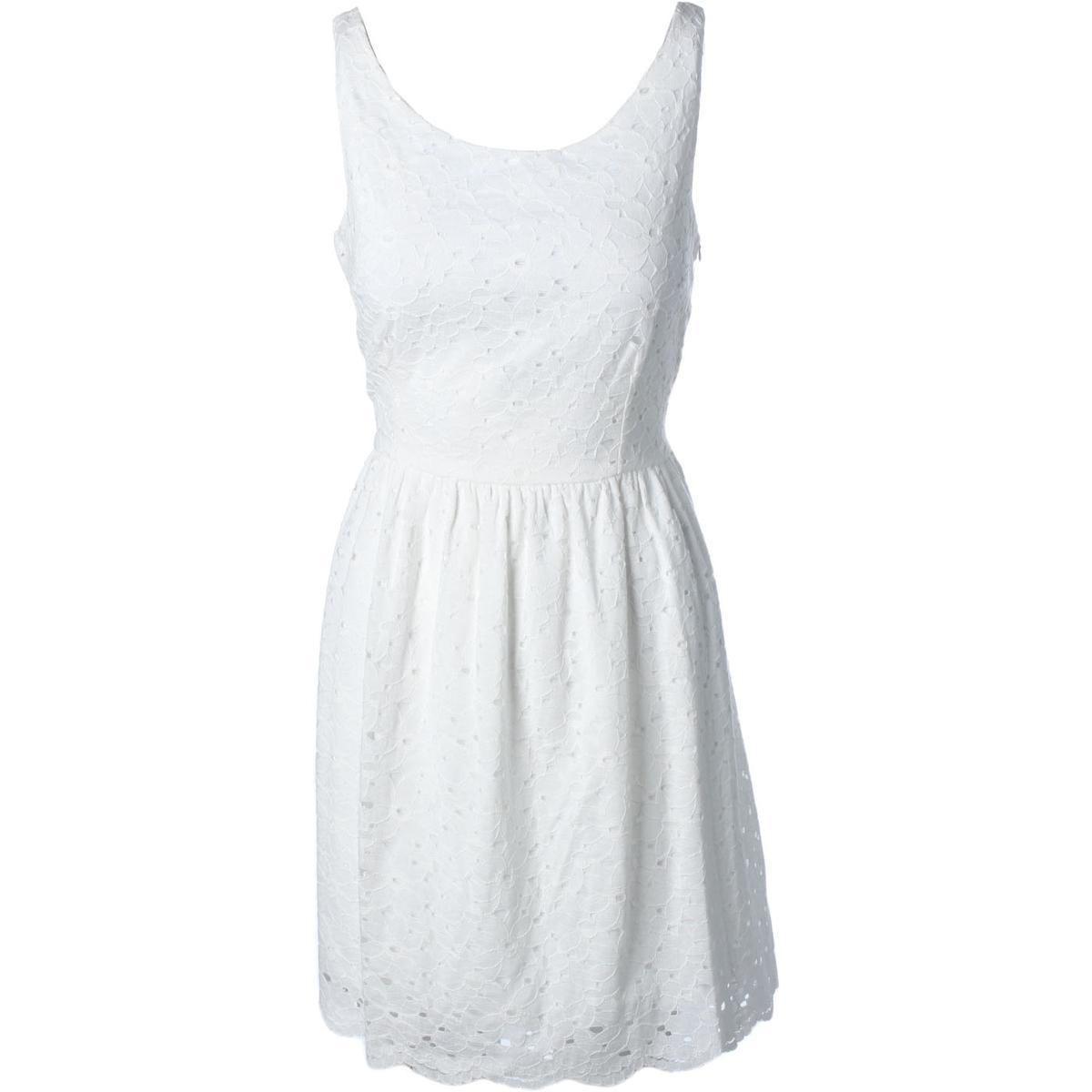 Aqua Womens Lace Sleeveless Casual Dress