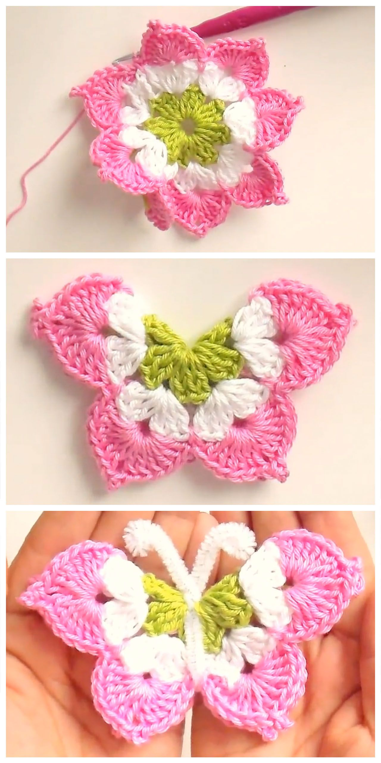 You will love these 3D crochet butterfly as much as I do. They are ...