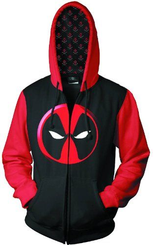 Amazon.com  Marvel Deadpool Color Block Logo Zip-Up Hoodie  Clothing ... c649d40218c