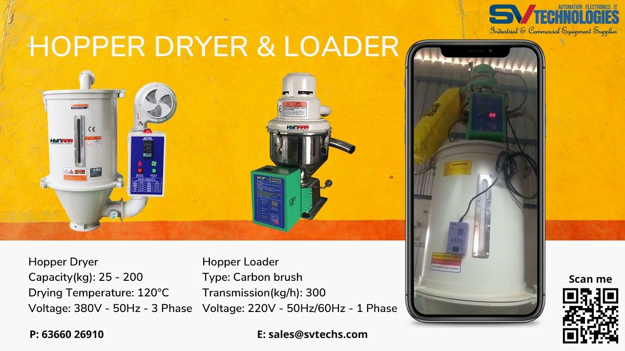 HYNAAR Plastic Hopper Dryer & Auto Vacuum Loader for