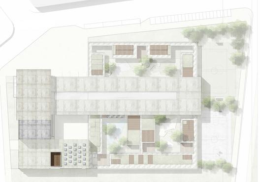 Primer Lugar Concurso para el Diseño de Colegios y un Equipamiento Cultural – Teatro, en Bogotá / Colombia,Planta de cubiertas