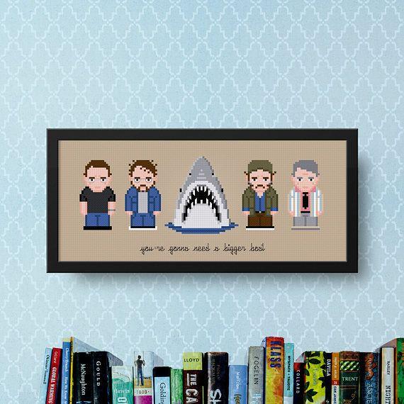 Jaws Cross Stitch Pattern PDF  Shark Cross Stitch  DIY Movie