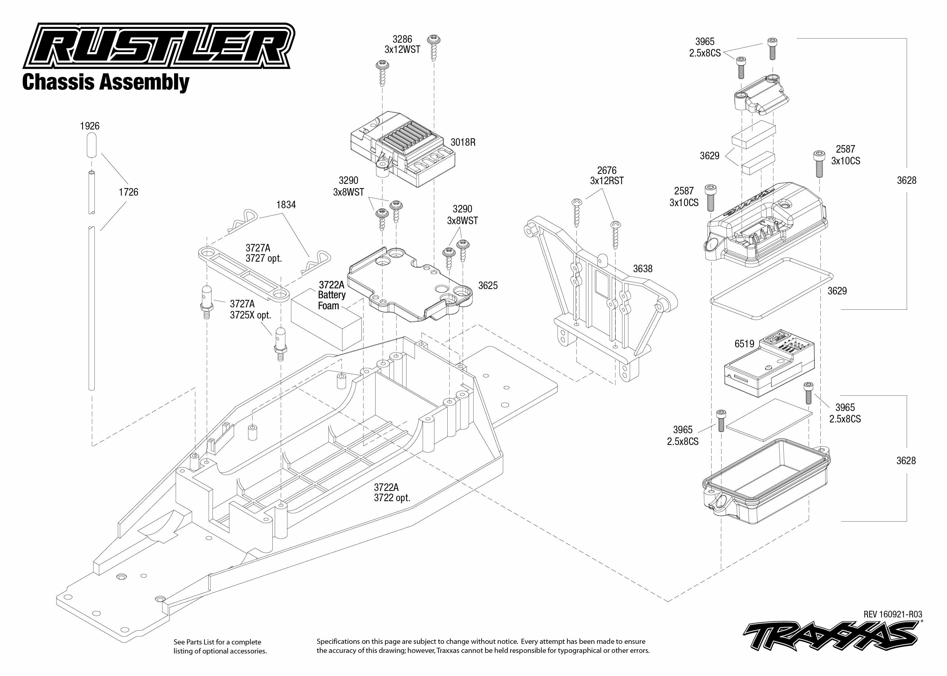 medium resolution of rustler 37054 1 chassis assembly exploded view traxxas