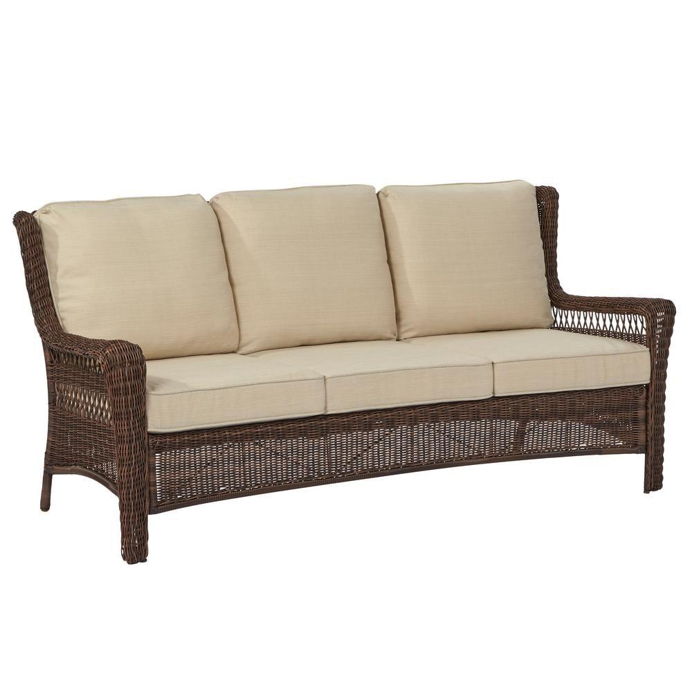 Hampton bay park meadows brown wicker outdoor sofa with beige