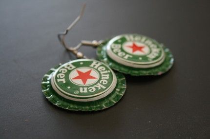 There's something about beer bottle cap earings that I've always found interesting.