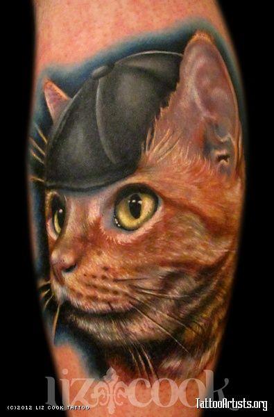 Tattoo Portrait Animal Cat Newsboy Hat Realistic Color Liz Cook Dallas Texas Tattoo By Liz Cook Dallas Tx Cat Tattoo