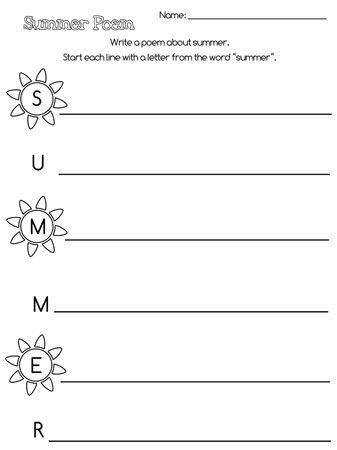Printable summer acrostic poem school ideas pinterest poem here is a printable summer acrostic poem you can use to help your child practice writing during the summer break this printable summer acrostic poem has pronofoot35fo Choice Image
