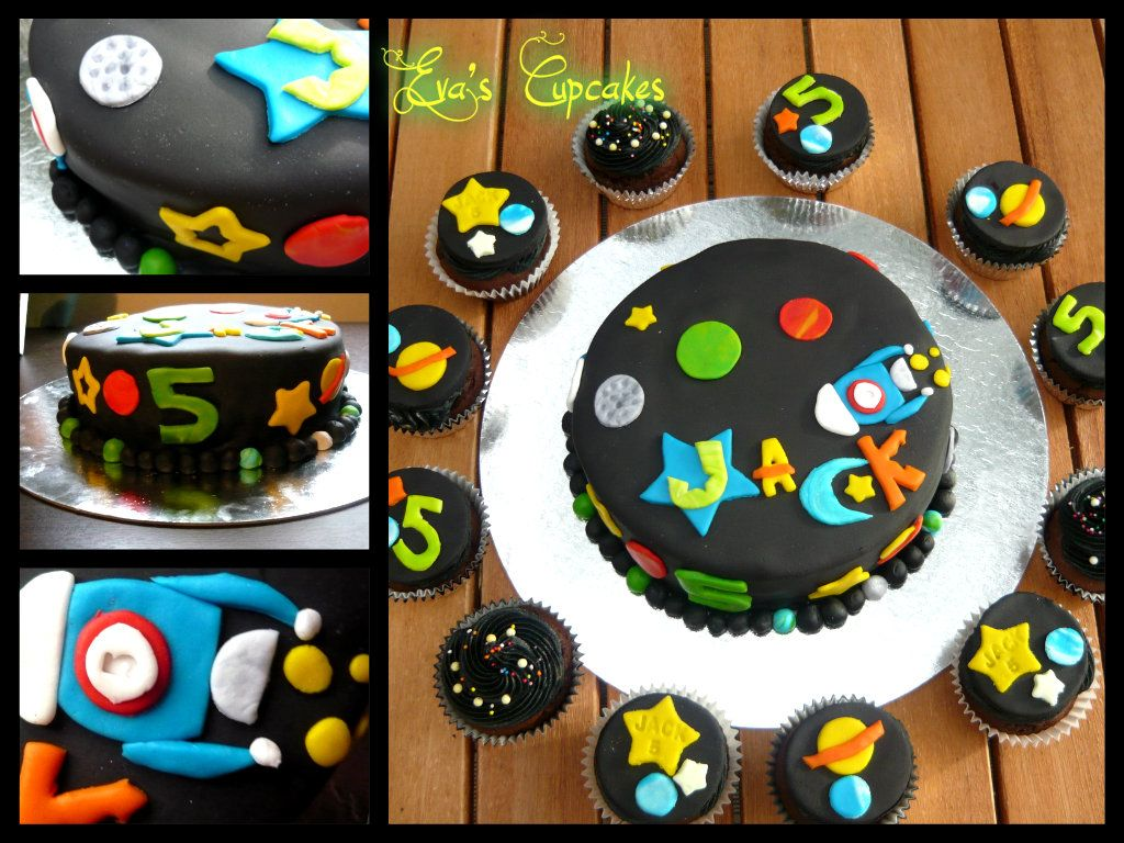Outer space cake and cupcakes cakes by anna lee for Outer space cake design
