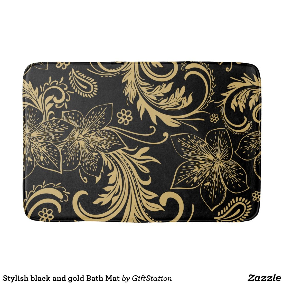 Stylish black and gold Bath Mat | Zazzle.| Gold bath mat, Bath