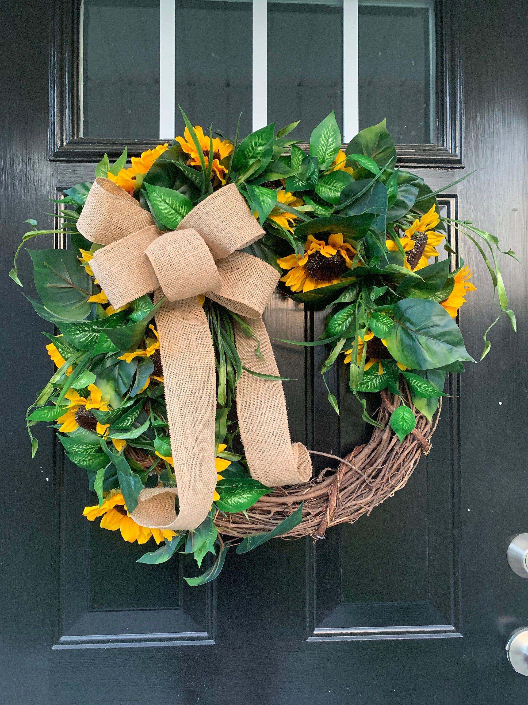 Photo of Sunflower wreath for front door, Everyday wreath for front door, Summer sunflower wreath, Housewarming Gift,