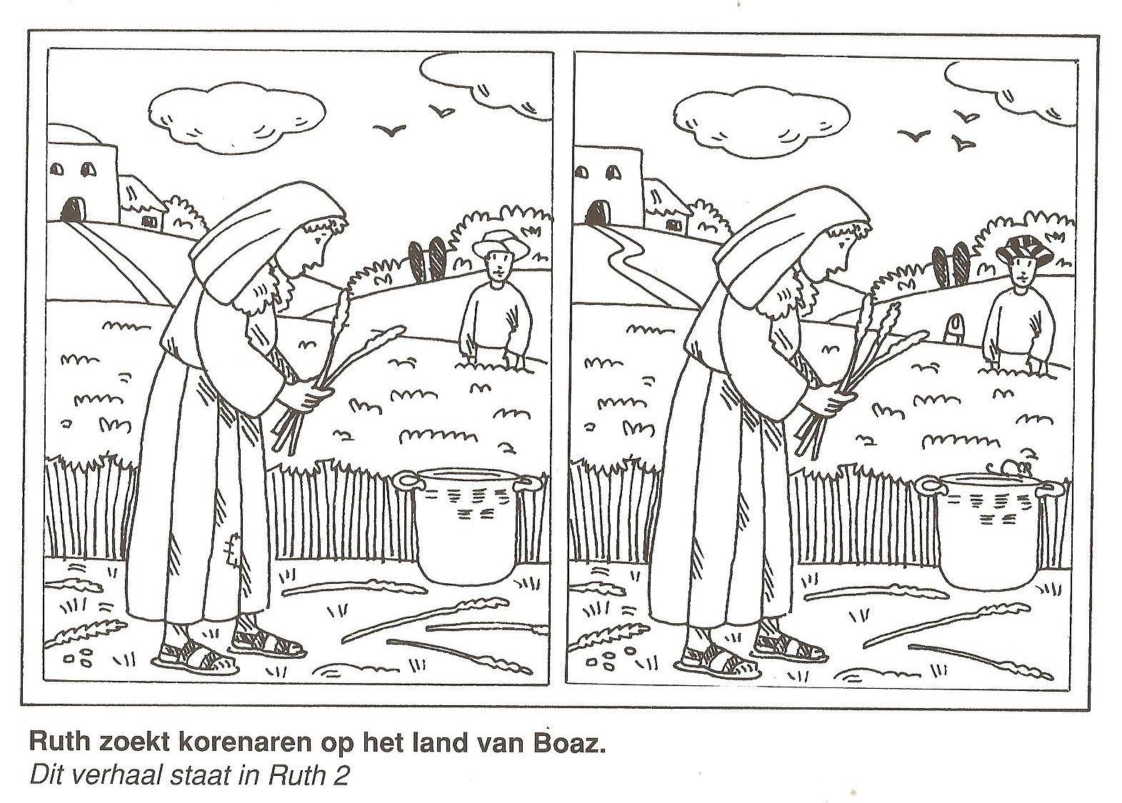 Ruth zoekt korenaren op het veld van Boaz zoek de 10