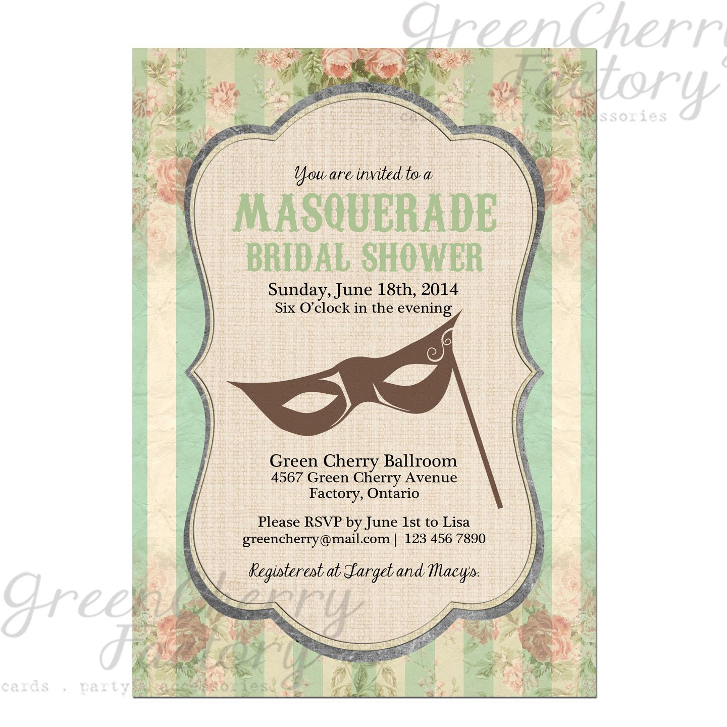 masquerade bridal shower invitation mint by greencherryfactory 1800