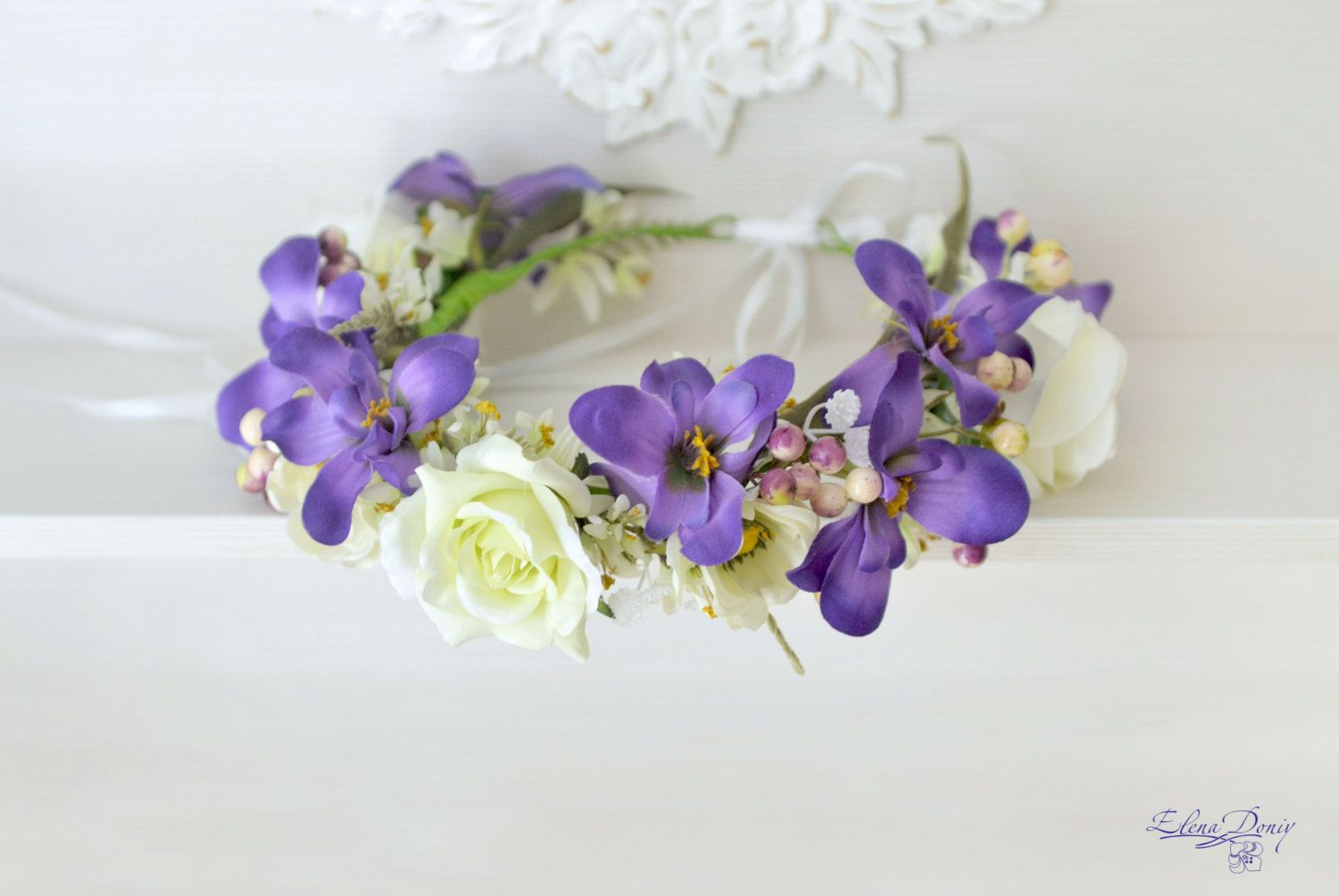 Bridal Flower Crown Wedding Flower Crown Purple White Flower