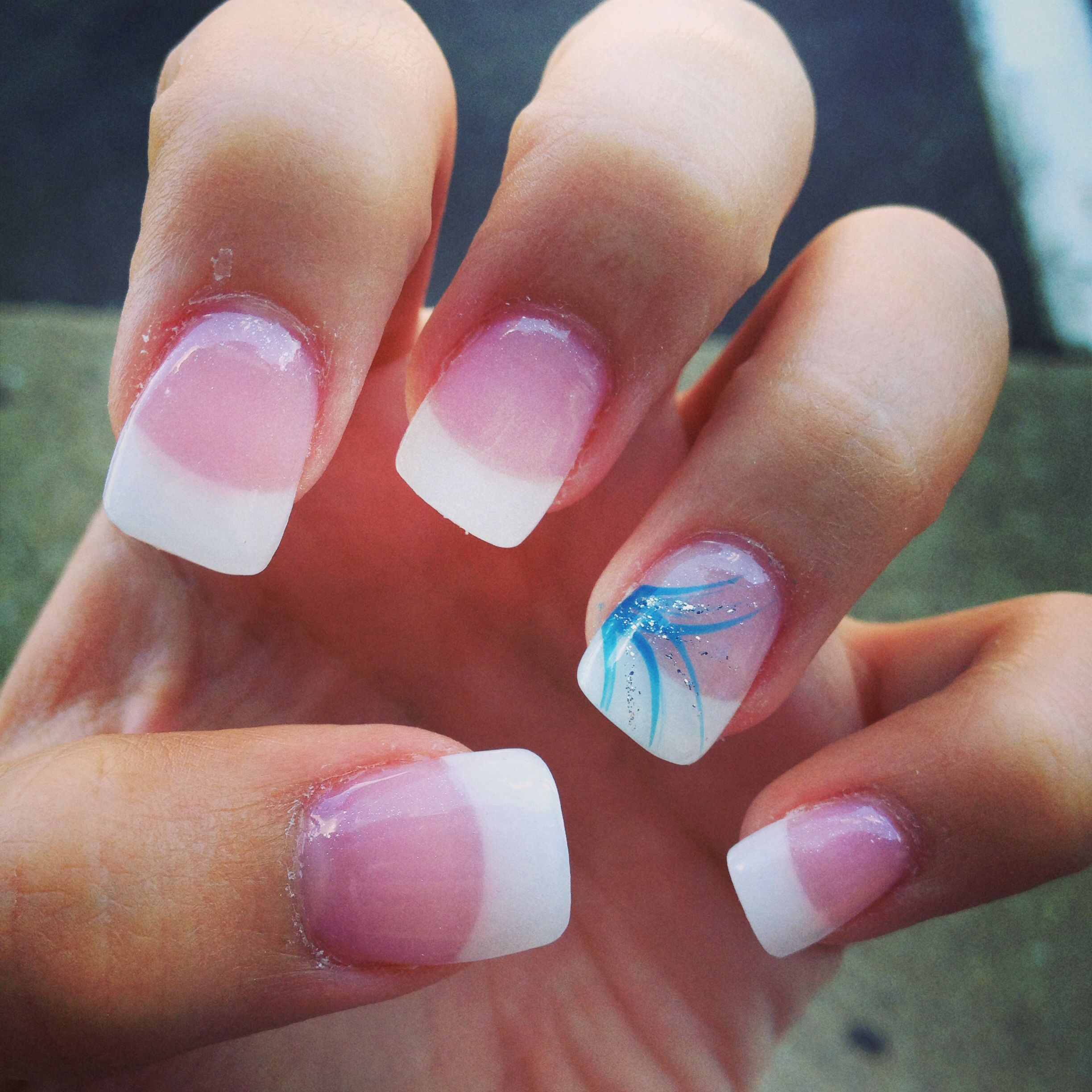 Cute White Tip Nails: Very Sharp! It's White Tip Nails Under The Acrylic