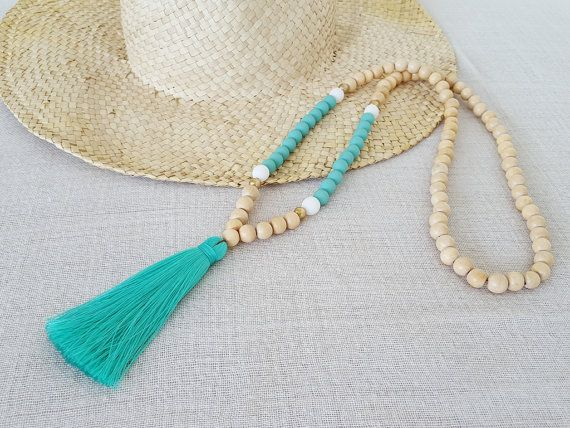 Wooden bead tassel necklace with Minty Aqua beads and matching tassel