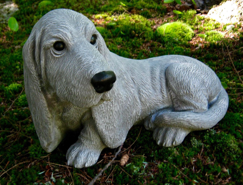 Exceptional Basset Hound Statue, Concrete Dog Statues, Painted Basset, Cement Garden  Decor, Pet