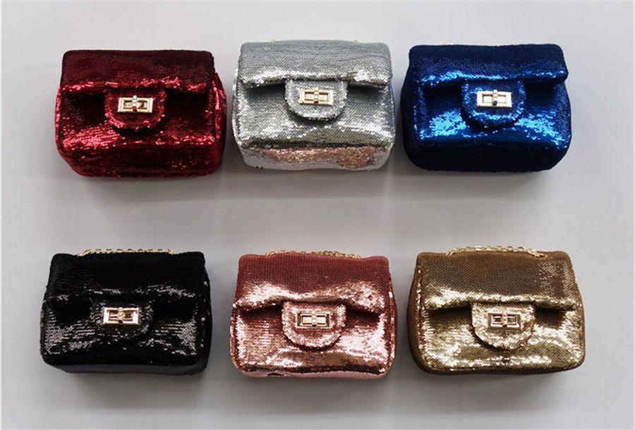 مصغرة الأطفال يد النساء المحمول حقيبة الأزياء الذهب الساطع بو بريق المعادن سلسلة دلو طفل رفرف حقيبة حزب الطفل محفظة 2018 في مصغرة الأطفا Accessories Cuff Items