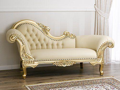 Divano dormeuse chaise longue stile Barocco Francese foglie oro ...