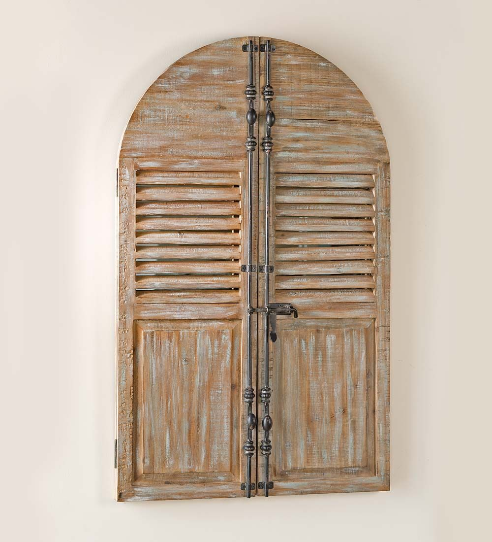 distressed wood frame mirror with shutter doors | wall artverified
