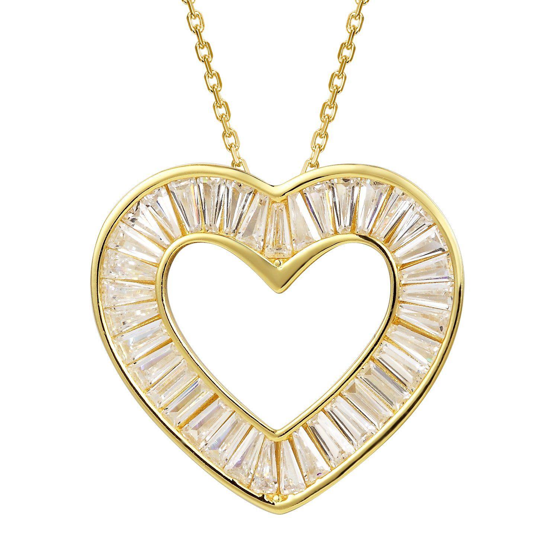 K gold finish one row baguette heart pendant set pendant set