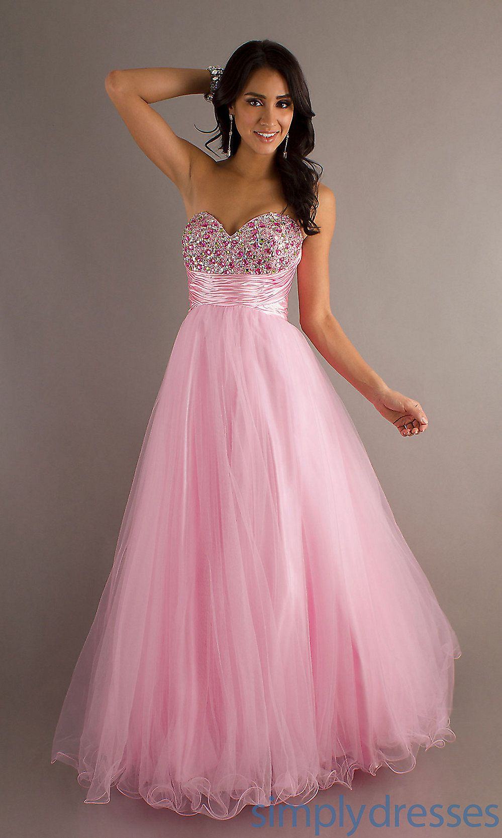 Long Tulle Sweetheart Prom Dress, Pink Ball Gown - Simply Dresses ...