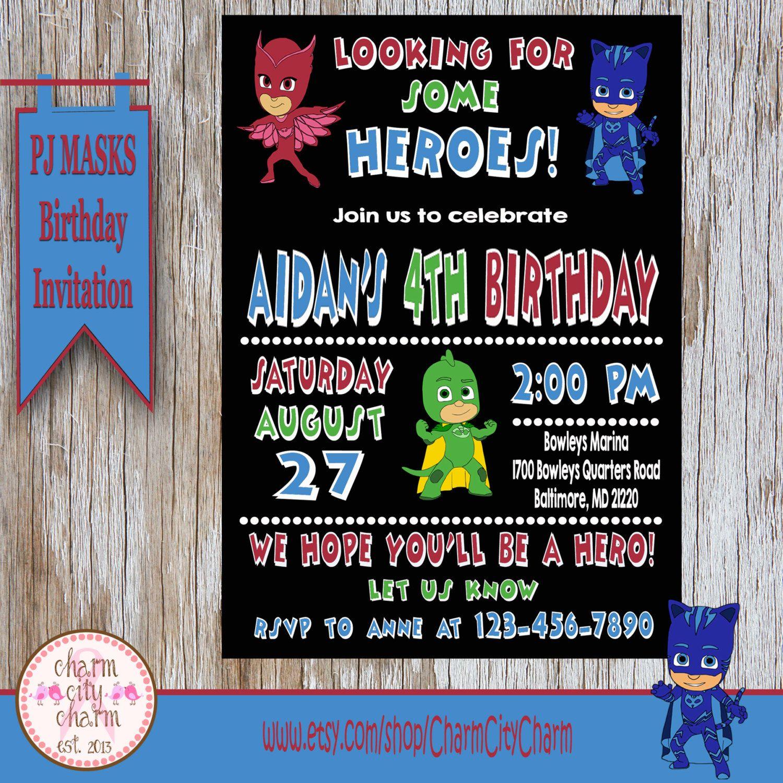PJ Masks Birthday Invitation, PJ Masks Theme Birthday Invitation, PJ ...