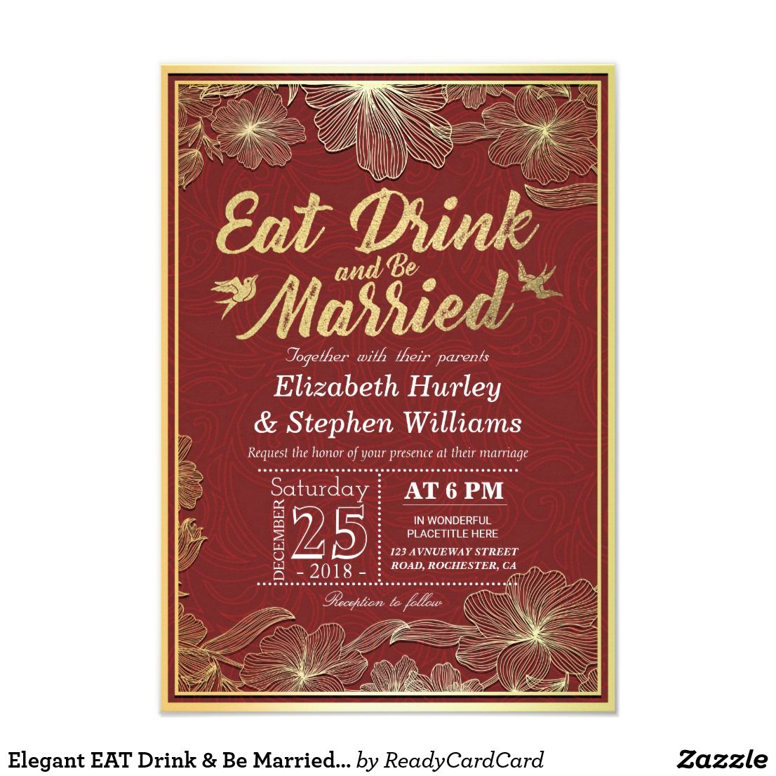 Elegant EAT Drink & Be Married Wedding Invitations | Pinterest ...