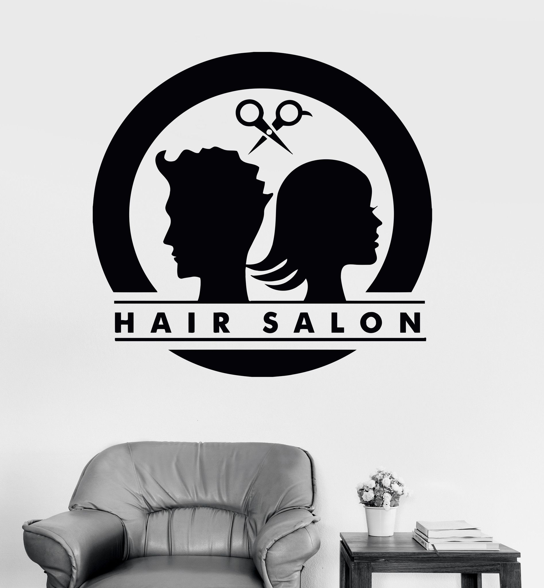 Vinyl wall decal hair salon logo unisex barbershop stylist for Stickers salon design