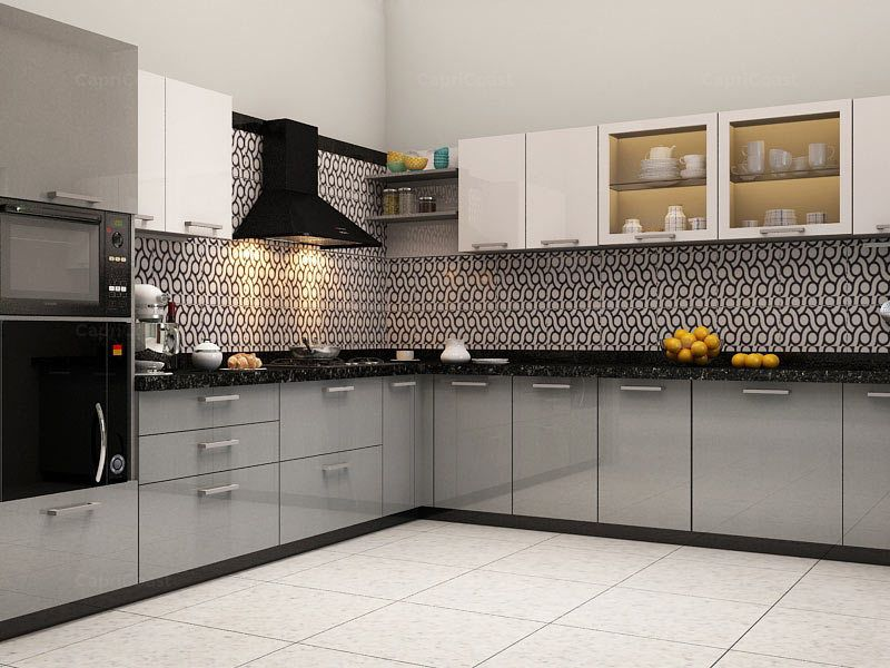 Lshaped Kinawa Modular Kitchen On Capricoast Is Fulfilled Pleasing Modular Kitchen L Shape Design Decorating Inspiration