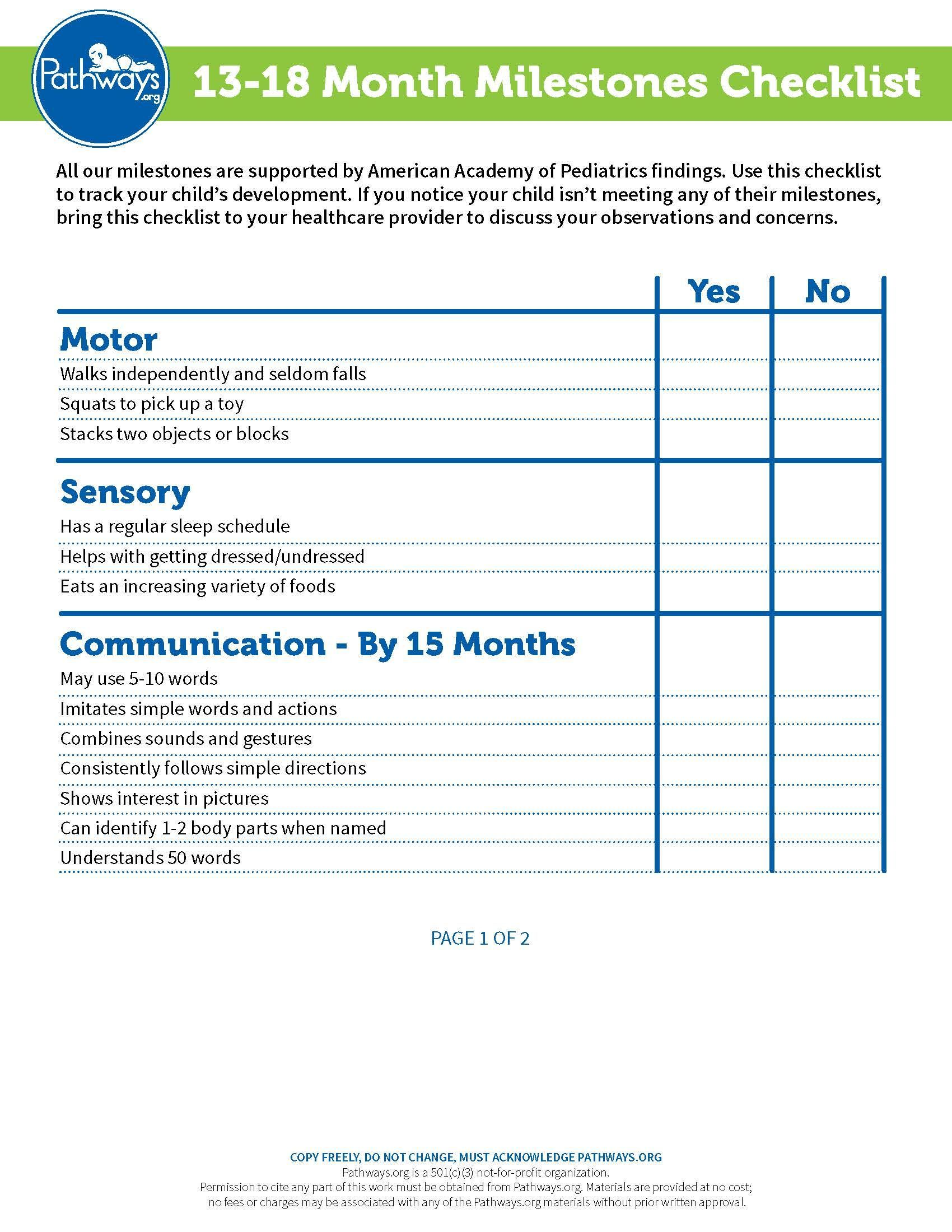 Your one year old still has important development milestones to reach. Use  our checklist to track their progress.