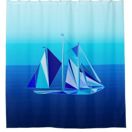 Modern Geometric Sailboat Yacht Cobalt Blue Shower Curtain