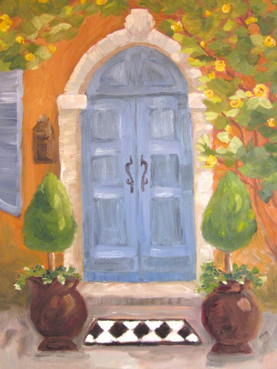 Original oil painting Welcome Home Blue door by KIMPETERSONART $98.00 & Original oil painting Welcome Home Blue door by KIMPETERSONART ...