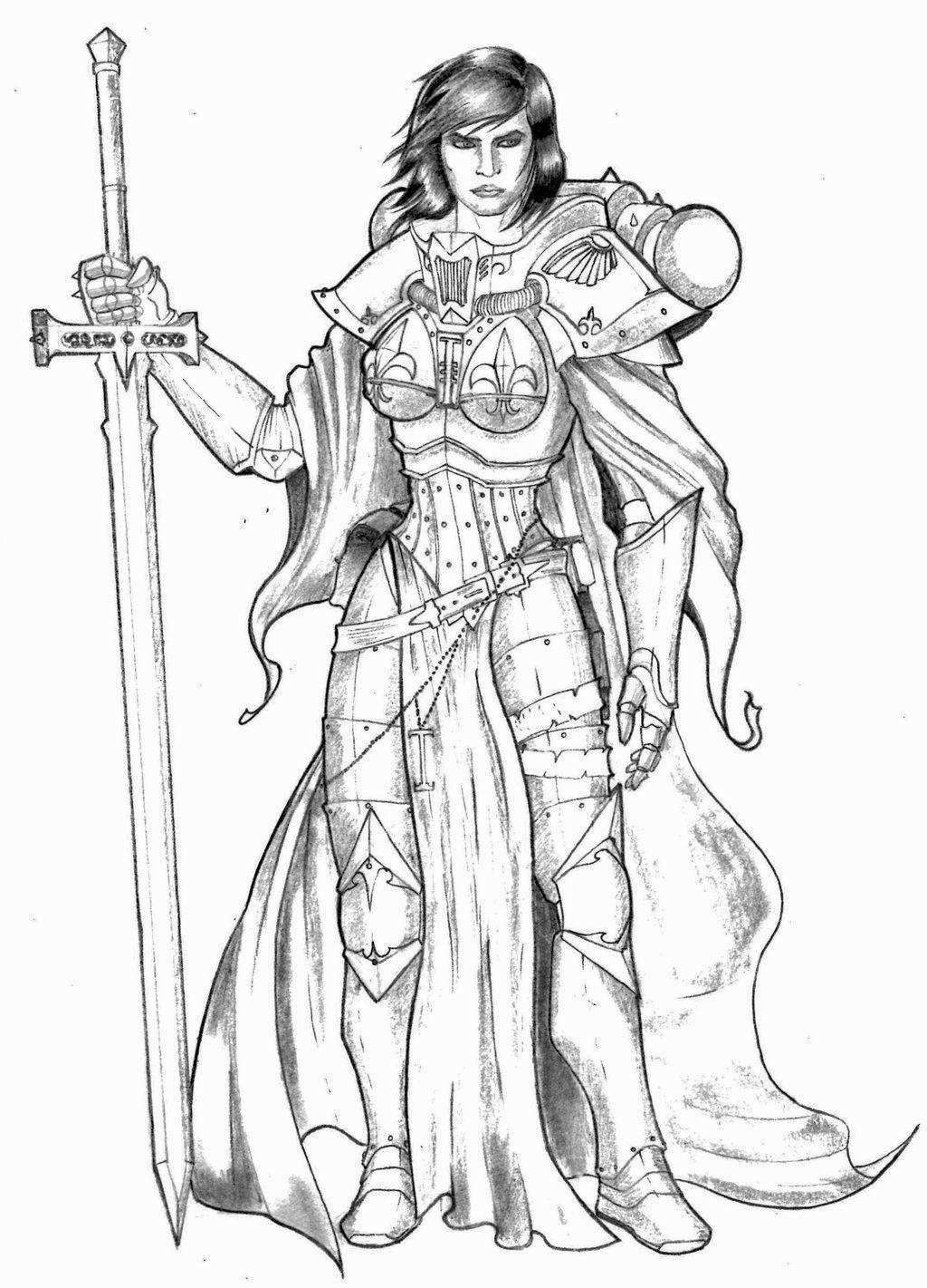 imperium khadoran-man lineart mantle sisters_of_battle sword