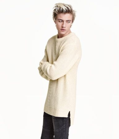Check this out! Long-sleeved sweater in a soft, ribbed knit with wool content. Short slits at sides. Slightly longer at back. - Visit hm.com to see more.