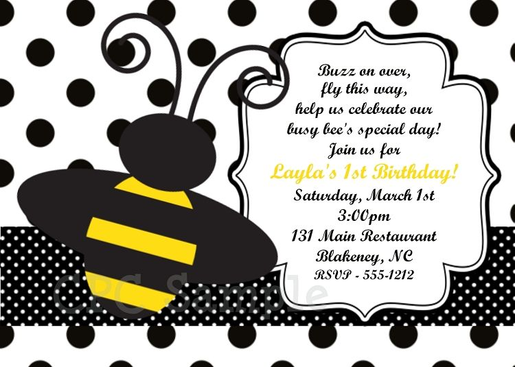 Free FREE Template Bumble Bee Birthday Party Invitations Baby - free template for birthday invitation