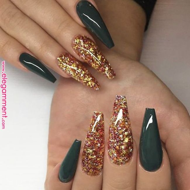 72 Popular Glitter Coffin Gel Nails Ideas You Will Love Green Nails Fall Acrylic Nails Gorgeous Nails