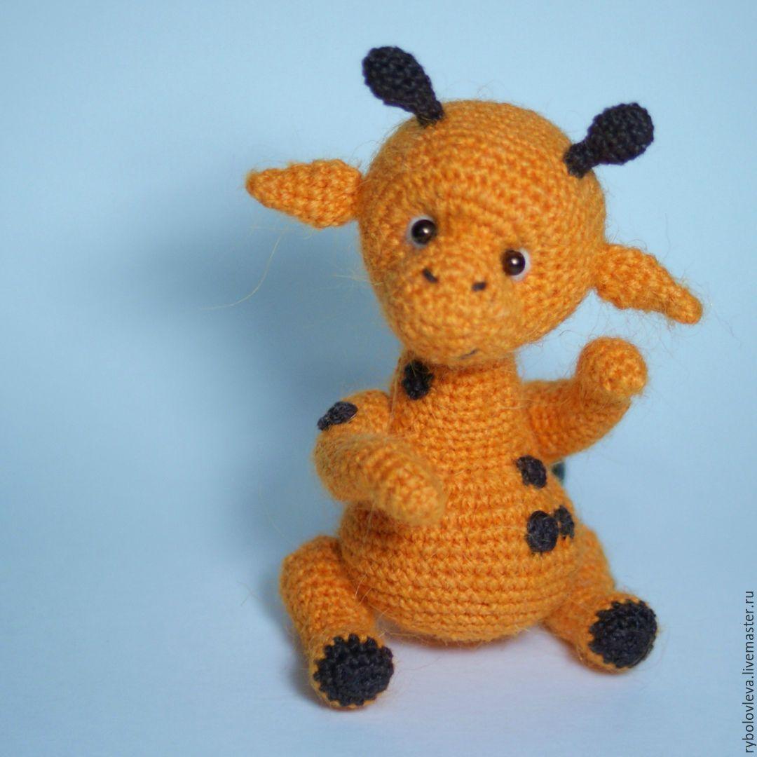 Купить Вязаный жираф Август - оранжевый, жираф, вязаная игрушка, вязаная игрушка крючком, амигуруми