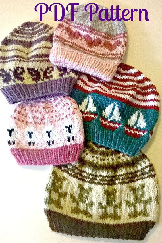 This pattern includes 8 color charts, 2 hat patterns, and 5 sizes ...