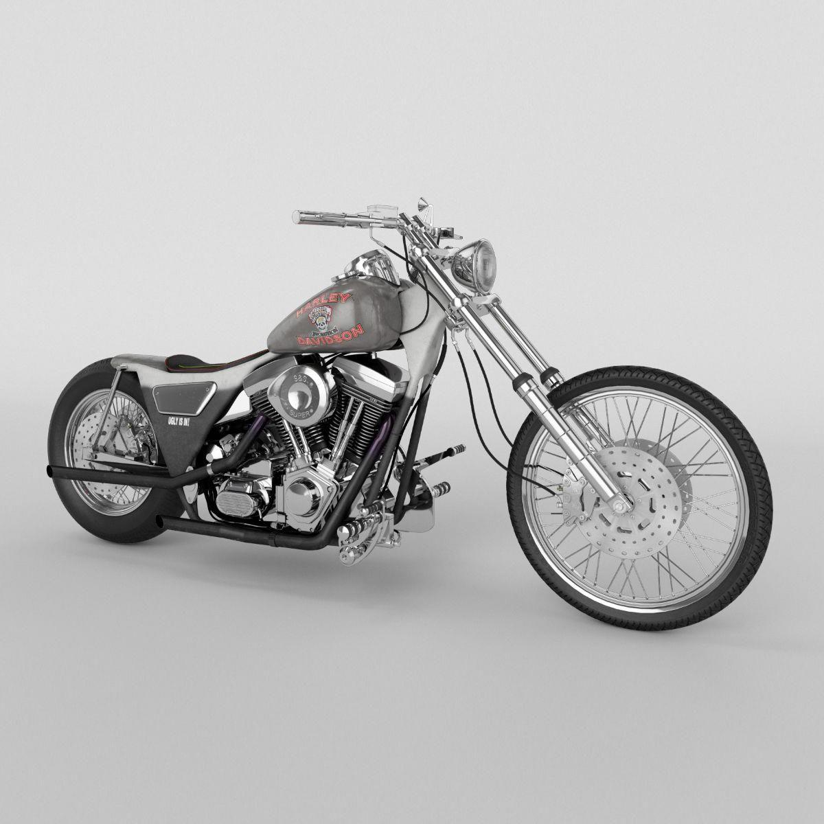 Harley Davidson FXR 1989 Custom 3D Model bikeaccessories