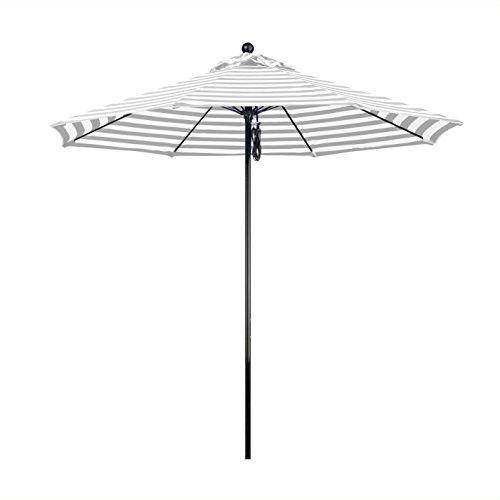 Eclipse Collection 9' Complete Fiberglass Market Umbrella Pulley Open Black/Olefin/Gray White Cabana Stripe