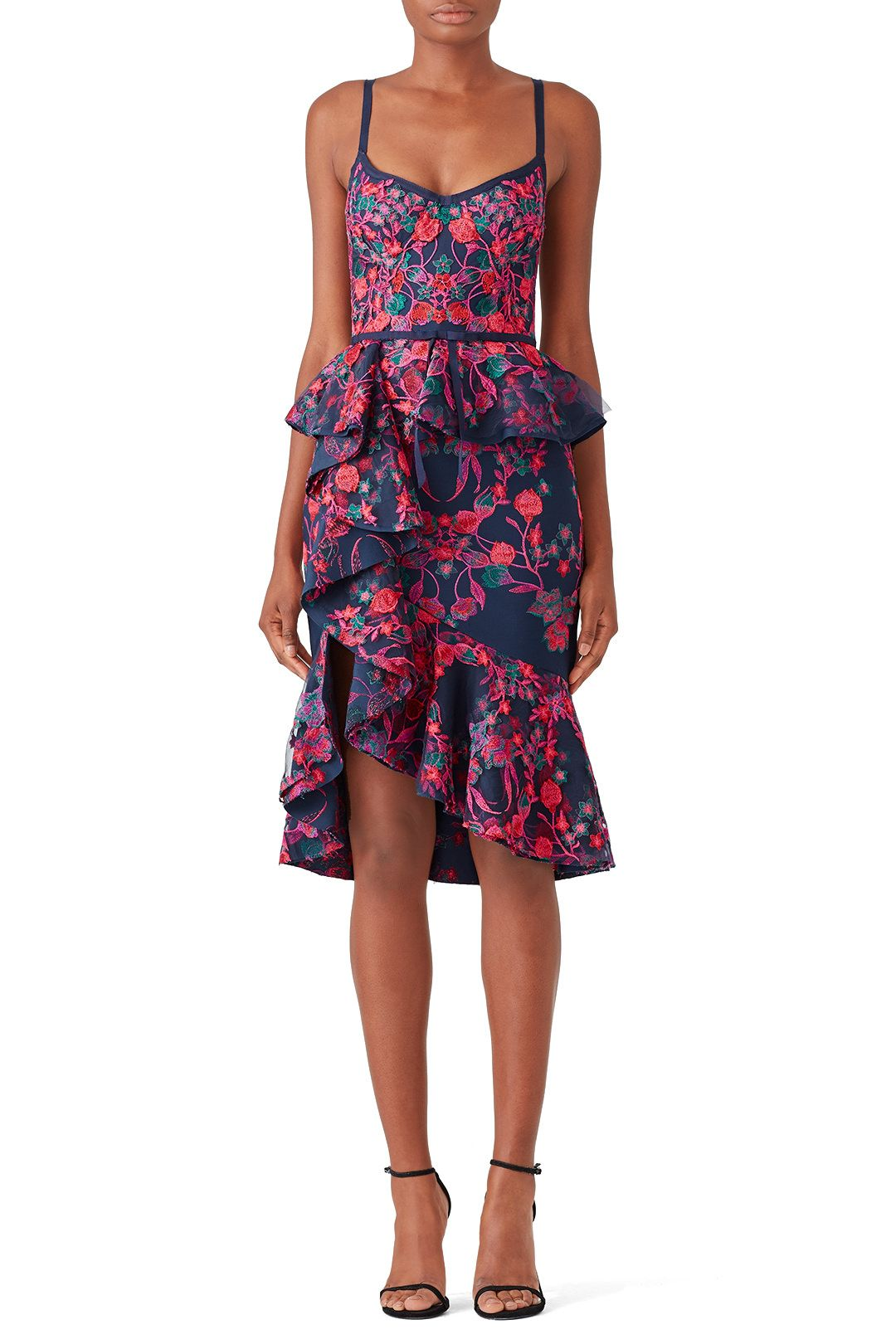 97fc39ce6100 Rent Floral Peplum Dress by Marchesa Notte for $120 - $135 only at Rent the  Runway.