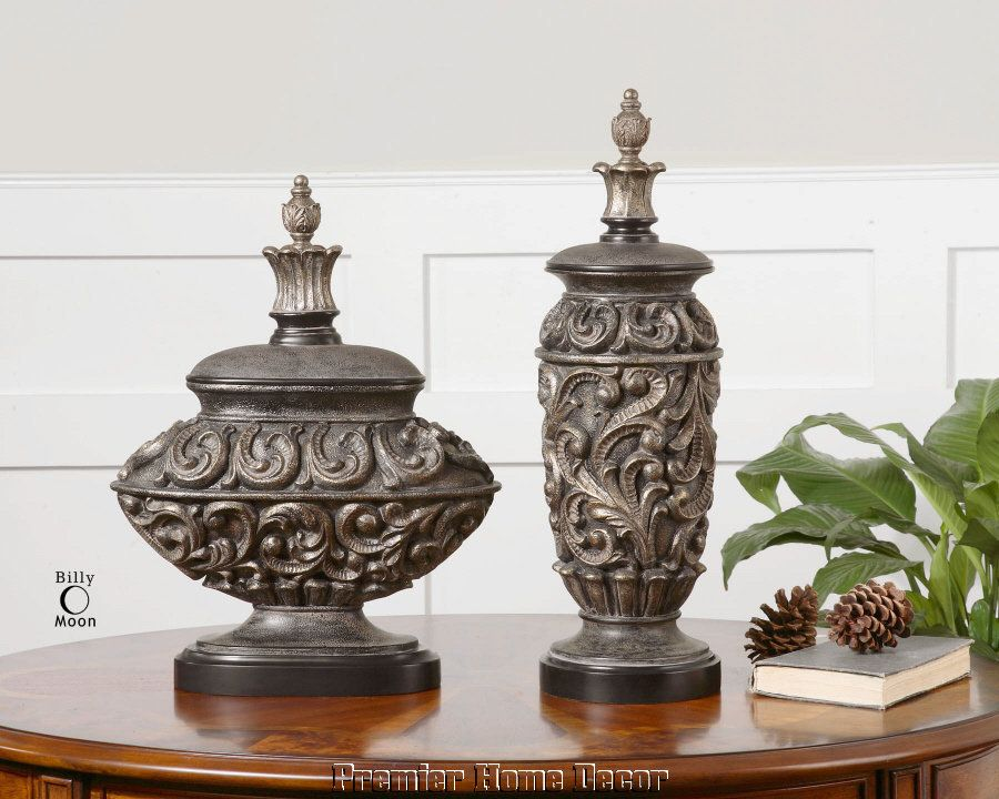 Old World Tuscan St/2 Embossed Urn Vases Finial Accent
